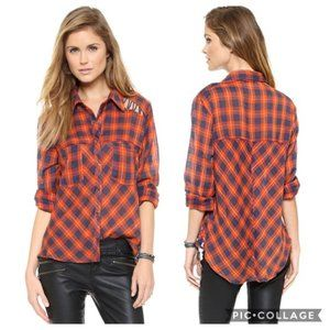 Free People Gauzy Plaid Lace Up Button Down Shirt